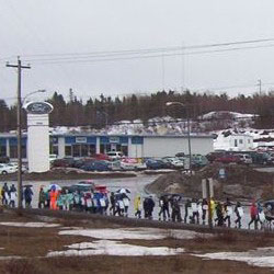 Approximately 300 NAPE and CUPE members marched through Grand Falls-Windsor on April 6, 2004.
