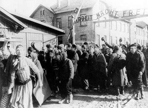 Prisoners at the Nazis' Auschwitz concentration camp are liberated by the Red Army,  January 27, 1945.
