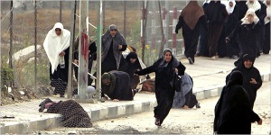 November 11, 2006, the women of Beit Hanoun rally to defend resistance fighters from Israeli Occupation Forces, after an Israeli tank opened fire on a march.