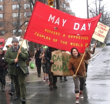 Nova Scotians present their demands. 2009 May Day march on the provincial legislature, for the dignity of labour, opposition to fascism and war, for manufacturing not nation-wrecking and the people's control over the economy.