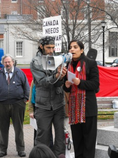 Former Afghan parliamentarian Malalai Joya speaks against the war at the rally in Halifax against the Halifax International Security Forum in November 2009.