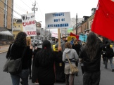 Demonstrators marched through the downtown city streets from the rally at the Westin Hotel