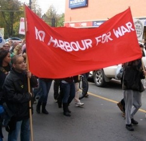 Nova Scotians present their demands. October 25, 2008, opposition to Canada's criminal role in the occupation of Afghanistan and the militarization of the Port of Halifax, the most heavily militarized city in Canada.