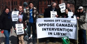Anti-War Protestors at Halifax's Spring Garden Library during federal election, March 26, 2011
