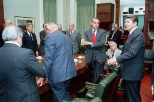 Reagan bipartisan meeting approving the Libya bombing, March 14, 1986