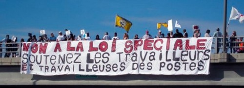"Montreal, June 20, 2011: ""No to back-to-work legislation; support the postal workers."""