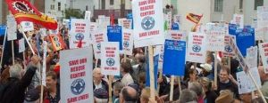 Massive protest against closure of Marine Rescue Coordination Centre, St. John's, NFLD, June 26, 2011.