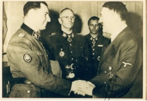 Fascist Degrelle receives the Ritterkreuz from Hitler