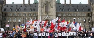 Workers rally on Parliament Hill, May First 2011