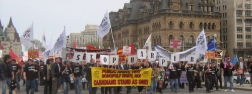 Hamilton steelworkers rally on Parliament Hill, May Day 2011.