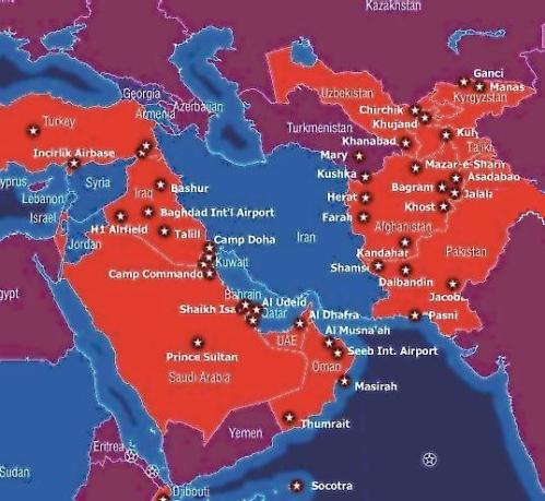 U.S. bases in the Middle East. White stars in red circles denote bases. NATO bases are not shown. (lewrockwell.com)
