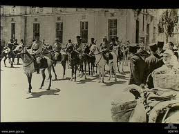 French Circassian Cavalry assembling outside the railway station at Damascus, French Mandate of Syria in preparation of the surrendering ceremony to Axis officials, September, 1941