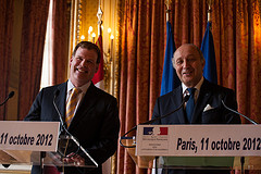 Laurent Fabius, France's Minister of Foreign Affairs, also collaborating with John Baird of the Harper government in Paris, October 11, 2012