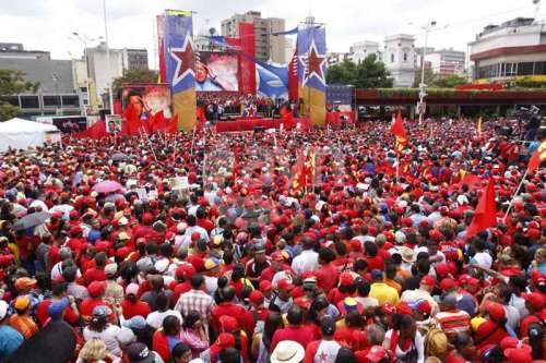 Mass rally on March 11, 13 at the nomination for Nicolás Maduro as the presidential candidatefor the United Socialist Party of Venezuela.