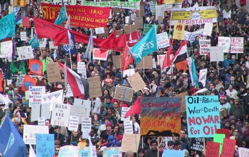 Toronto, March 30, 2003. One of many actions across Canada opposing the Second Gulf War and demanding Canada not intervene.