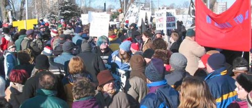 Scene from anti-war demonstration in Halifax on Saturday, January 18 as part of the Global Day of Action
