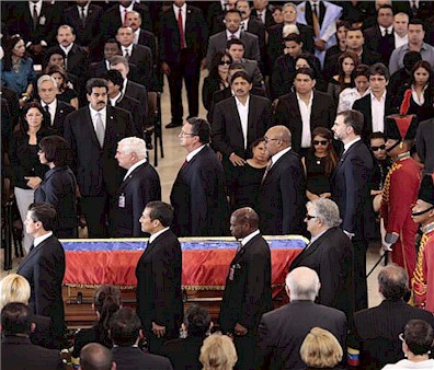 The guard of honour to the deceased Bolivarian leader comprising Presidents Enrique Peña Nieto of Mexico, Ollanta Humala of Peru, Desiré Delano Bouterse of Surinam, José Mujica of Uruguay, Jamaican Prime Minister Portia Simpson-Miller, President Ricardo Martinelly of Panama, Prime Ministers Denzil Douglas of St. Kitts & Nevis and Kenneth Anthony of St. Lucia, and Prince Felipe of Bourbon, representing Spain.