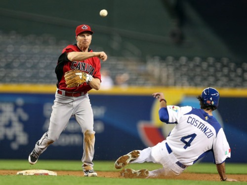 """Canada's Pete Orr, left, throws over the sliding Mike Costanzo of """"Italy"""" to complete a double play during the fifth inning of Canada's 14-4 opening loss at the World Baseball Classic. Christian Petersen/Getty Images"""