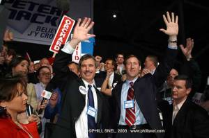 In 2003 David Orchard threw the support of his delegates to Peter MacKay, enabling MacKay to capture the leadership of the Conservative Party. MacKay signed a legal agreement demanded by Orchard as his condition of support not to merge the PC party with Stephen Harper's Alliance Party.