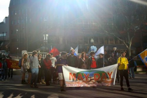 Workers gather in the Grand Parade in downtown Halifax on May Day, 2013