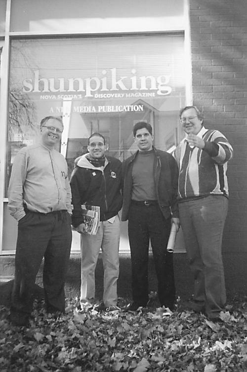 What a great visit from Cuba! Charles Spurr (Accounts), Isaac Saney (Black History supplement), Ambaasdor Fernández de Cassîo and Tony Seed (editor/publisher) in front of Shunoiking's offices, 6211 North Street in Halifax, NS