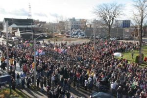 Another view of the large rally in Sydney, Cape Breton on Nov. 9, 2013 demanding that government provide public service.