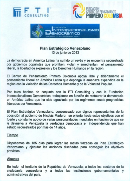 Facsimile of Venezuela Strategic Plan