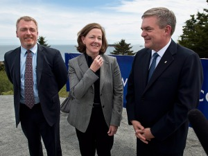 "Paul Browning, president and CEO of Irving Oil, left, smiled smugly, as Alberta Premier Alison Redford and former New Brunswick Premier David Alward, right, toured the Irving Canaport Marine Terminal in Saint John, NB, in June 2013. The deepwater port is a proposed Eastern terminus of TransCanada Corp.'s Energy East pipeline, through which Alberta crude oil would be exported to Europe and such countries as Germany. The Conservative premiers and the media tried to sell it as a ""nation building"" project. The National Post declared in a headline, ""New Brunswick's premier has become the public face of the West-East pipeline"" (April 18, 2013). Redford resigned on March 23, 2014 in the midst of deepening political and economic crisis in that province. Alward was defeated in a provincial election on September 22, 2014."
