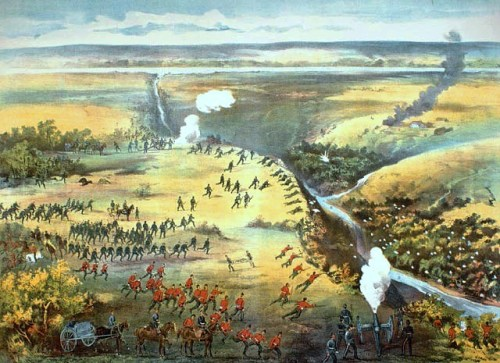 The Battle of Fish Creek (also known as the Battle of Tourond's Coulée ), fought April 24, 1885 at Fish Creek, Saskatchewan, was a major Métis victory over the colonial forces attempting to quell Louis Riel's North-West Rebellion. Although the reversal was not decisive enough to alter the ultimate outcome of the conflict, it was convincing enough to persuade Sir Major General Frederick Middleton to temporarily halt his advance on Batoche, where the Métis would later make their final stand. Middleton was the newly-appointed British head of the colonial militia (1884-1890); he had just completed his 10th year as Commandant and Secretary of the Royal Military College at Sandhurst and had fought in India, Burma and New Zealand. Middleton is knighted by Queen Victoria and paid a bonus of $20,000 by Parliament for his crimes. | Lithograth by Fred Curzon, 1885, Archives Canada