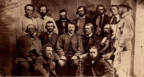 Métis leader Louis Riel (centre) surrounded by councillors of the Métis Legislative Assembly of Assinaboia.
