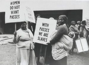 "Historic march by 20,000 women in Pretoria against the racist pass laws, August 9, 1956, today commemorated as Women's Day in South Africa. The women chanted the phrase ""wathinth' abafazi, wathinth' imbokodo"" which translates as ""you strike a woman, you strike a rock."""