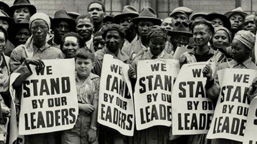 "Protest against ""Treason Trials"" of anti-apartheid leaders, December 19, 1956."