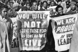 Demonstration opposes the guity verdict of the Rivonia Treason Trials against Nelson Mandela and other leaders of the ANC, Pretoria, June 14, 1964.
