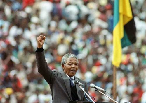 Nelson Mandela addresses a jubilant mass rally of 100,000 people in Soweto, February 13, 1990,  two days after his release from 27 years of political imprisonment by the racist apartheid regime of South Africa, his freedom the result of sustained political action and armed struggle in South Africa.
