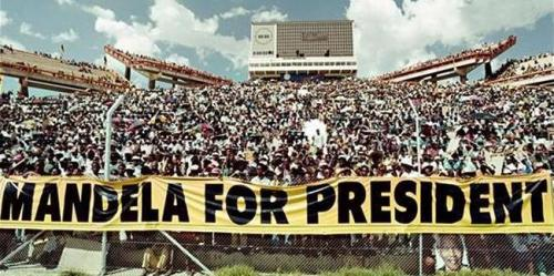 Election rally for Nelson Mandela, Mmabatho, March 15, 1994.
