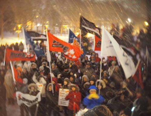 Actions at the legislature in Edmonton on December 2 denounce Alberta government's legislative endorsement of state-organized force and violence against public sector workers as a crime.