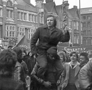 John Buckle leading the fight against the fascists, Digbeth, Birmingham, 1978.