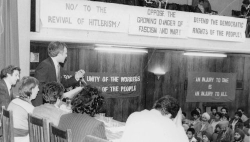 John Buckle speaking at the historic Conference against Racism and Fascism, Conway Hall, London, June 7, 1981.