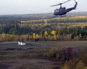 Maine Army National Guard helicopter flies over CFB Gagetown in New Brunswick | 2001 Portland Press Herald