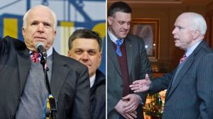 When warmongering US Senator John McCain dined with Ukraine's opposition leaders on December 12, 2013, he shared a table and later a stage with the leader of the neo-Nazi Svoboda party Oleh Tyahnybok.