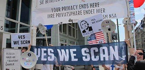Protest outside U.S. Embassy in Berlin, June 18, 2013.