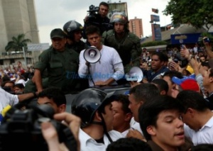 Far right leader Leopoldo Lopez, who participated in the failed 2002 coup against then President Hugo Chávez, addresses a crowd on Feb. 18 in Caracas