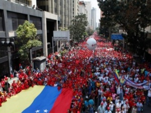 The pro-government march in Caracas on February 18 (AVN)