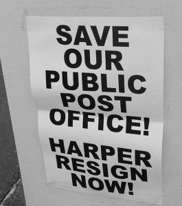 Save our public post office.harper resign