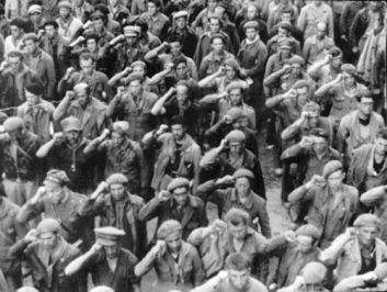 In defiance of Anglo-American collusion with the fascist powers, Internationalist fighters came to support the Spanish Republic against Fascism. Photo is of the Lincoln Brigade, from the USA