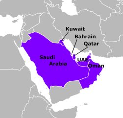 Map indicates member states of the Gulf Co-operation Council