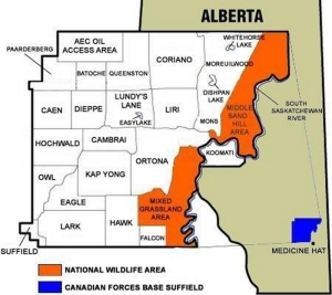 Map of CFB Suffield -- click to enlarge.