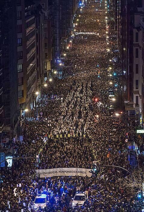 Bilbao, Spain: Huge turn out to protest in support of Basque political prisoners after the Spanish Government banned demonstrations.