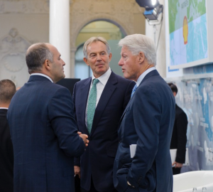 Vikotr Pinchuk (left) with former British prime minister Tony Blair and U.S. president Bill Clinton in September 2013. Other attendees at Pinchuk's annual Yalta forum (YE) included Hilary Clinton and Crystia Freeland of the Trudeau Liberals. Pinchuk has donated millions to the private foundations of both Blair and Clinton.