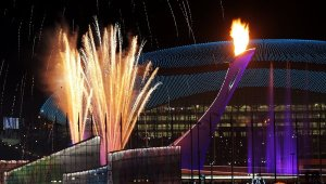 Sochi Winter Olympic Opens.Flames.